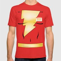 Hello My Name Is Shazam! Mens Fitted Tee Red SMALL