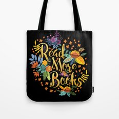 Read More Books - Black Floral Gold Tote Bag