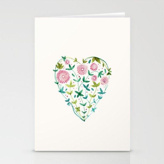 garden heart Stationery Card