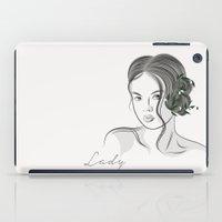 line art Lady iPad Case