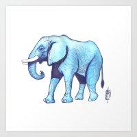 Elefante Blu Art Print