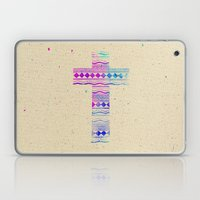 Pink Purple Aztec Pattern Cross Watercolor Paint Laptop & iPad Skin