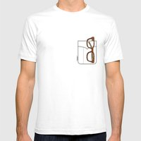 Pockets - The Hipster - Mens Fitted Tee White SMALL