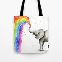Baby Elephant Spraying Rainbow Whimsical Animals Tote Bag