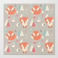Baby Fox Pattern 01 Canvas Print