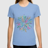Radial Foliage Womens Fitted Tee Tri-Blue SMALL