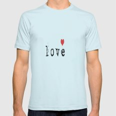 Love Me  Mens Fitted Tee Light Blue SMALL