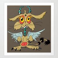 Evil Flying Feline Jacka… Art Print