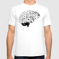 Braaains Mens Fitted Tee White SMALL