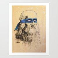Art Print featuring Leo TMNT by Rachel M. Loose