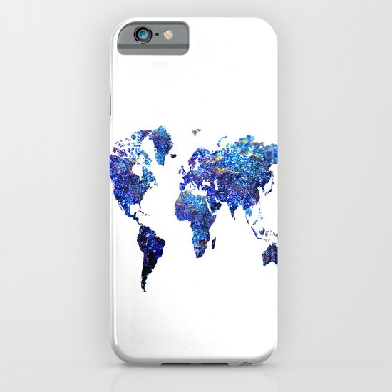 World Map blue purple iPhone & iPod Case by Haroulita  Society6