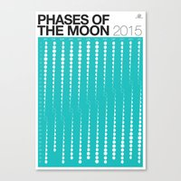 TEAL Phases of the Moon Calendar Canvas Print