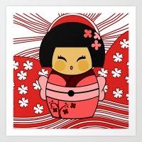 Kokeshi Sakura Art Print