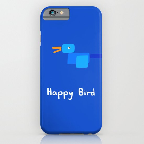 Happy Bird-Blue iPhone & iPod Case