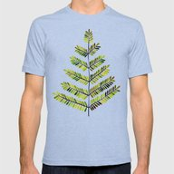 Green Leaflets Mens Fitted Tee Tri-Blue SMALL