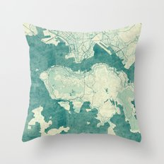 Hong Kong Map Blue Vinta… Throw Pillow