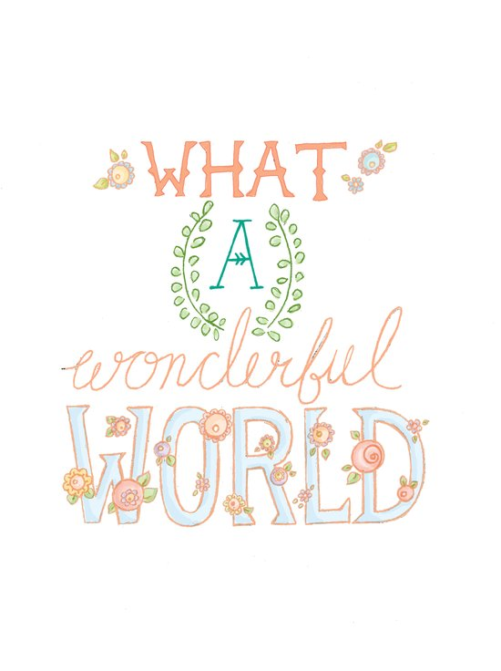 What a Wonderful World, Hand Drawn Quote Canvas Print