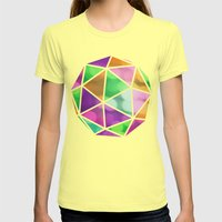 Vivid Dodecahedron Womens Fitted Tee Lemon SMALL