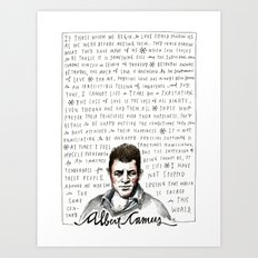 Camus on Happiness and Love Art Print