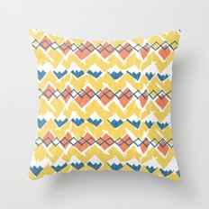 Linocut Tribal Throw Pillow