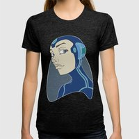Space Girl Womens Fitted Tee Tri-Black SMALL