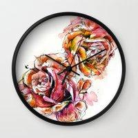 Rose Blooms Wall Clock