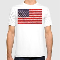 Stained Glass Old Glory White SMALL Mens Fitted Tee