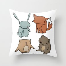 Woodland Animals Throw Pillow