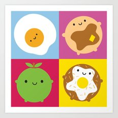 Kawaii Breakfast Art Print
