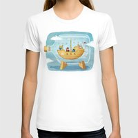 AIRSHIP IN A BOTTLE Womens Fitted Tee White SMALL