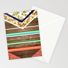 chevron  wood design Stationery Cards