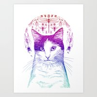 Of cats and insects Art Print