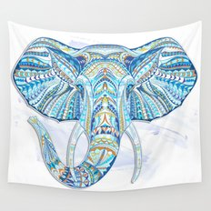 Blue Ethnic Elephant Wall Tapestry