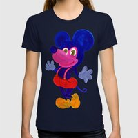 Fakey Mouse Womens Fitted Tee Navy SMALL