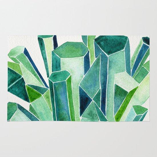 Emerald Watercolor Area & Throw Rug
