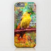 iPhone Cases featuring Newsprint Songbird by Ginkelmier