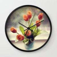 Orange Tulips Wall Clock