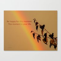 Rainbow and copper leaves Canvas Print