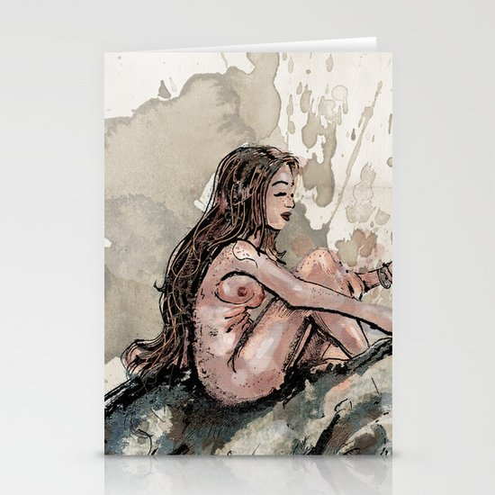 The Girl and the Rhino Stationery Card