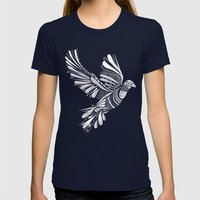PEACE Womens Fitted Tee Navy SMALL