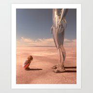 Chloe Meets A Giant But … Art Print