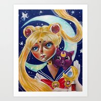 Sailor Moon and Luna Fan Art Pop Surrealism  Art Print