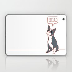 Boston Terrier, Hello, Red, Black, Grey Laptop & iPad Skin