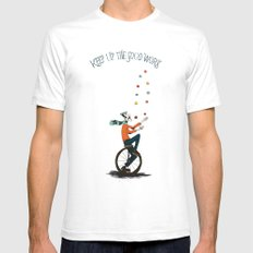 KEEP UP THE GOOD WORK White Mens Fitted Tee SMALL