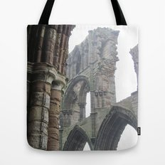 Whitby Abbey in Fog Tote Bag