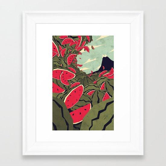 Watermelon surf dream Framed Art Print