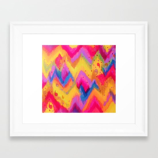 BOLD QUOTATION - Bright Vibrant Neon Quote Chevron Pattern Ikat Rainbow Trendy Design Fun Art Framed Art Print