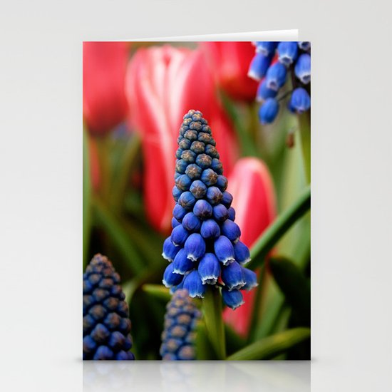 Grape Hyacinth and Tulips Stationery Card