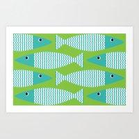 Wavy Bass - lime Art Print