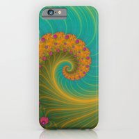 iPhone & iPod Case featuring Vortex on Poppy Row in Orange and Turquoise by Objowl